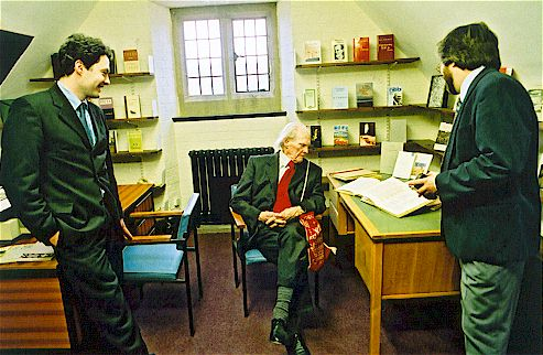 Poet R. S. Thomas pictured at the centre with Jason Walford Davies and Tony Brown